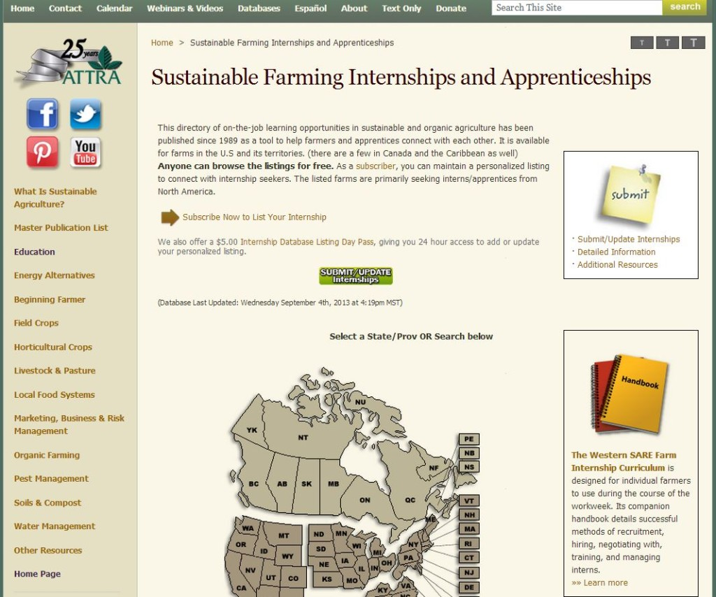 Sustainable Farming Internships